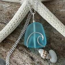 Handmade in Hawaii, wire wrapped ocean wave blue sea glass necklace,Sea glass je