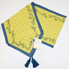 """Pfaltzgraff Pistoulet Blue & Yellow Vines 72"""" Tapestry Table Runner"""