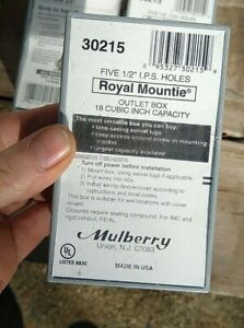 """3 x    Mulbarry 30215    Outlet Box  Gray 1/2"""" 5-Hole"""