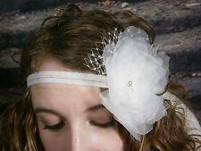 KLEINFELD WEDDING HEADBAND HEAD HAIR PIECE FLOWER SWAROVSKI CRYSTAL NETTING