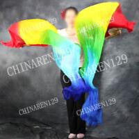 PAIRS 1.8M BELLY DANCE 100/% SILK FAN VEILS vertical five color 8989