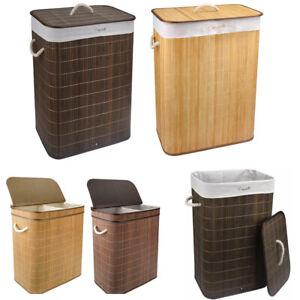 Large Bamboo Laundry Basket Clothes Washing Hamper Storage Bin Stand 105L & 72L
