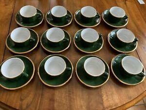 LOT DE 12 TASSES A CAFE BISTROT AVEC SOUCOUPES VERT-OR PORCELAINE APILCO FRANCE
