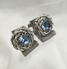 Ice Blue Rivoli Cufflinks Silver Tone Wrap Around Rhinestone Cable Vintage C1