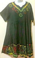 Nwt SACRED THREADS funky batik hippie tier rayon babydoll DRESS 1X Free shipping