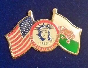 Coca Cola USA Liberty Flags Of Freedom Ellis Island Wales Lapel Pin Rare Vintage