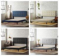 King Size Queen Upholstered Platform Bed Headboard Frame Wood Slats Tufted Linen