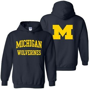 University of Michigan Wolverines Front and Back Print Hoodie - Navy