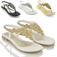 Womens Flat Sandals Diamante Slingback Toe Post Ladies Holiday Party Shoes 3-9