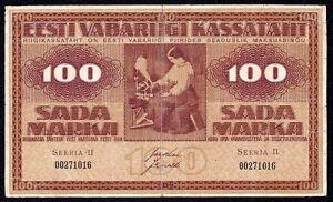 Estonia 100 Marka 1919 Taped Back  P-48b  (SEERIA II )