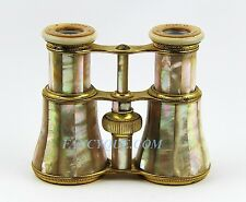 ANTIQUE FRENCH OPERA GLASSES WITH AMAZING ALL RAINBOW MOTHER OF PEARL # 127 DMG
