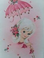 UNUSED Vtg Pretty LADY w PINK Parasol Get Well New Old Stock GREETING CARD