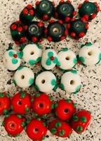 Lampwork Glass Rondelle Flower Beads Red White Green 24 Beads 14x7mm