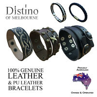Mens & Womens Leather Bracelets | Unisex Bracelet | Men's Wristband by Distino