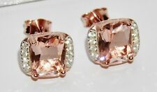 9ct Rose Gold on Silver Morganite & Diamond Ladies Stud Earrings