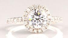 2,60 Carat Runden Form Solitär 585er Solide Echt Weiß Gold Hochzeits Ring