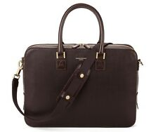 Aspinal of London Leather Mount Street Laptop Bag in Chocolate Brown Saffiano.