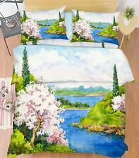 3D Paint Landscape 66 Bed Pillowcases Quilt Duvet Cover Set Single King UK Lemon