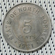 *GOOD Grade* 1921H - British North Borneo - 5 Cents #CBUI