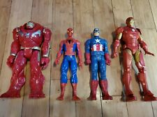 "Lot of 4 Hasbro Marvel Avengers Iron Man  Spiderman Cap 12"" Action Figure 1C"