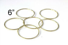 "6"" Macrame Metal Ring Hoop Brass Set Of 6, Gold Toned"