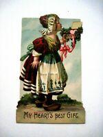Precious Sweet Vintage Die Cut German Valentine w/ Dutch Girl Holding Box *