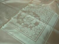VINTAGE MADE JAPAN PINK DAMASK TABLECLOTH with NAPKINS with PRETTY ROSES 60x104