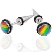 1 Coppia orecchini acciaio Arcobaleno orecchino accessorio bigiotteria unisex