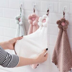 Hand Towel Coral Fleece Thickened Hanging Absorbent Kitchen Cleaning Oil-Free