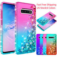 For Samsung Galaxy Note 10 9 S9 S20 S10 Plus 5G Bling Glitter Liquid Hard Case
