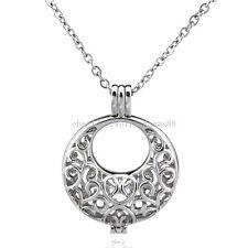 "K101 Silver 34mm Baby Heart Bib Locket Necklace Beads Cage Steel 18"""