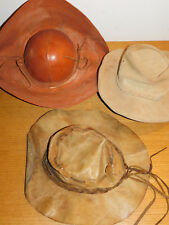 lot VINTAGE 3 Chapeau AUSTRALIEN MEXICAN hat HATS hut LEATHER leder CUIR cowboy
