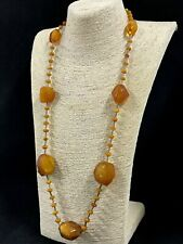 Vintage Antique Old BALTIC AMBER NECKLACE Egg Yolk Butterscotch Beads 73g 1SS