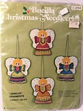 Bucilla Christmas Ornaments Needlecraft #2114 Set of 4 Jeweled Angels New