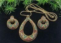 Vintage BERGERE sign Dimensional Multicolor RS Necklace & Earrings Set Goldtone