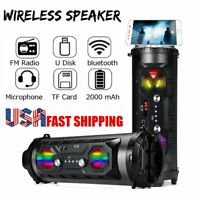 LED bluetooth Speaker Wireless FM Stereo Loud Bass Subwoofer Aux TF Boombox ☆
