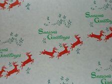 Vtg Christmas Store Wrapping Paper 2 Yards Gift Wrap Reindeer Seasons Greetings