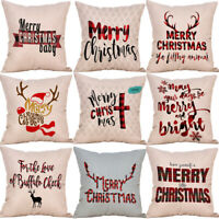 Merry Christmas Pillowcase Bed Waist Cushion Cover Cafe Home Decor Gift