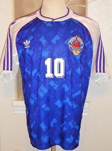 VTG ADIDAS 90s YUGOSLAVIA SERBIA STOJKOVIC SOCCER JERSEY FOOTBALL SHIRT RED STAR