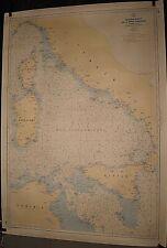 ANCIENNE CARTE HYDROGRAPHIQUE MARINE BASSIN OUEST MEDITERRANEE ITALIE TUNISIE