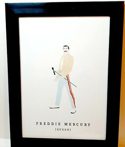 Freddie Mercury Graphic Art Print In Frame Iconic pose Rock star mic stand