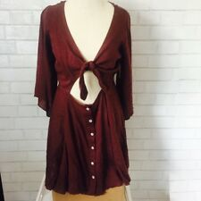 NWT Free People $88 Front Tie Festival Mini Dress Linen Blend Burgundy Small