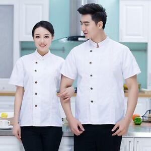 Unisex 5636 Coat Short Sleeve DenimJacketMen Cook Waiter Tops Uniform Workwear