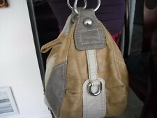 Guess Authentic Purse Brown top zip handle medium size pockets linen # 602
