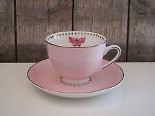 Room Seven - Tasse mit Untertasse / Teller - rosa - Winterpoppy - Schmetterling