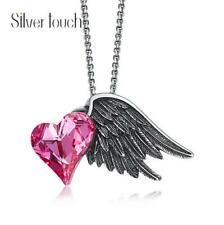 Top Quality Angel Wings Rainbow Topaz Gem Black Gold Plated Pendant Necklaces