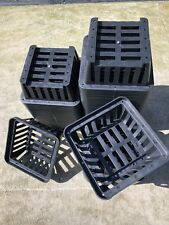 "NEW 8"" VANDA ORCHID BLACK SQUARE PLASTIC BASKETS LOT OF 10 PIECES"