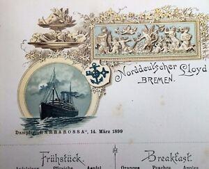 1899 Fruhstuck/Breakfast menu from Norddeutscher Lloyd, Bremen