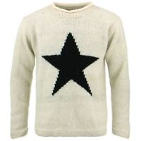 Wool Jumper Star Chunky Knit Knitted Sweater Pullover Rolled Crew Neck Cream