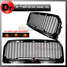 15-16 2017 Ford F150 Gloss Black ABS Amber LED Raptor Style Mesh Packaged Grille